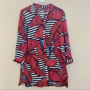 Basler Floral Blouse Red/Navy/White One Size